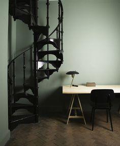 Ilse Crawford Aesop London, herringbone wood floors, green walls, black spiral staircase //eclectic-cool.com