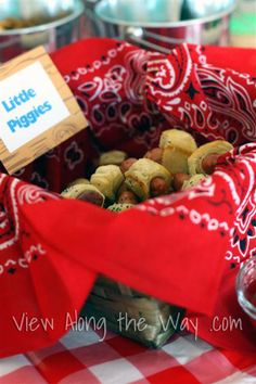 "Pigs in a blanket make perfect ""little piggies"" for a child's first birthday barnyard party!"