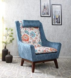 Excellent Simon Wing Chair In Sea Blue Colour By Casacraft Home Caraccident5 Cool Chair Designs And Ideas Caraccident5Info