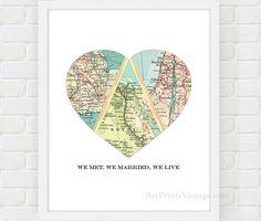 We Met We Married We Live Heart Map by ArtPrintsVintage on Etsy