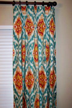 Custom Drapery Panels Drapes - Lined and Interlined - Fabulous Iman Ubud Sunstone Fabric