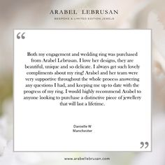 What a gorgeous testimonial from Danni, she ordered both her #ethical engagement and wedding ring from us, we are so glad she loves them! #WeddingRings #Engagement #reviews #happycustomers