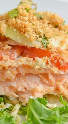 Tomato and Onion Crusted Baked Salmon