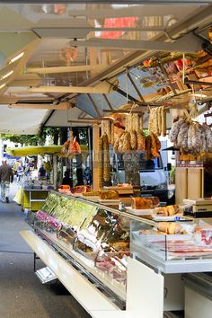 morning food market in the streets of picturesque Cajarc in the Lot Valley, Lot, Quercy, France