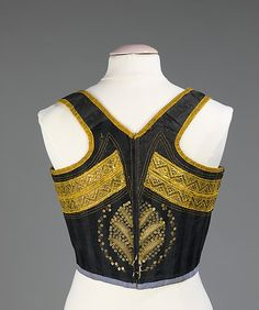 Date: third quarter 19th century Culture: Swiss Medium: silk, metal, cotton Dimensions: Length at CB: 14 in. (35.6 cm) Credit Line: Brooklyn Museum Costume Collection at The Metropolitan Museum of Art