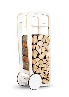 Fleimio Is the best company for Modern Log Holder in Finland. Fleimio Wood Trolley is a new piece of furniture, that enables you to both move your firewood and store it in your home, fleimio trolley regular is a versatile furniture with wheels.