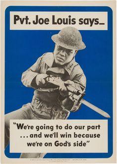 1942 Joe Louis World War II Propaganda Poster, Mounted on Board....   Lot #13893   Heritage Auctions