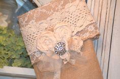 Burlap Stocking Christmas Stocking Burlap and Lace by LolaAndBea, $20.50