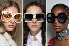 Eyewear junkies, gather around because the spring / summer 2020 sunglasses trends are here! As the days get longer and the sun gets stronger, good eye protection is a must, and the spring 2020 sunglas Teen Fashion Outfits, Girl Fashion, Girl Outfits, Runway Fashion, Fashion Trends, Trending Sunglasses, Sunglasses Women, Summer Sunglasses, Mode Streetwear