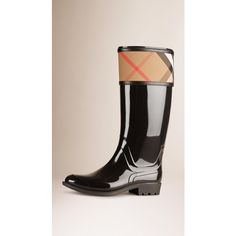 Burberry House Check Rain Boots ($400) ❤ liked on Polyvore featuring shoes, boots, burberry, patent boots, weatherproof boots, patent shoes and rubber boots