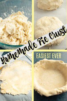 Easy no fail homemade pie crust recipe. Flaky pie crust made with butter, shorte… Easy no fail homemade pie crust recipe. Flaky pie crust made with butter, shortening, flour, salt and sugar yield the best pie crust recipe in less than an hour. Pie Dough Recipe Easy, Homemade Pie Crust Easy, Never Fail Pie Crust Recipe, Pumpkin Pie Crust Recipe, No Fail Pie Crust, Best Pie Crust Recipe, Pie Crust Recipes, Pie Crust With Shortening, Pie Crust With Butter