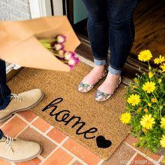 Brighten up your front door decor with a stylish doormat!