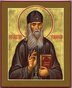 Archimandrite Justin Popovic (1894-1979) was a theologian, a philosopher of Eastern Orthodox theology, a champion of anti-Communism, and a confessor of the Orthodox faith in Serbia. He was widely venerated as a saint long before his official glorification on May 2nd, 2010. Here he holds a volume of the Lives of the Saints, which he translated into Serbian. (click pic to get to Troparian and bio)