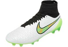 White and Poison Green Nike Magista Obra Firm Ground Soccer Cleats | SoccerMaster.com