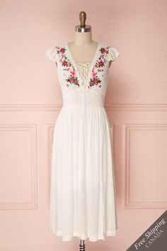 Minthu Ivory Midi Dress with Floral Embroidery Cute Dresses, Casual Dresses, Summer Dresses, Modest Fashion, Fashion Dresses, Boutique Party Dresses, Dress Skirt, Dress Up, Corsage