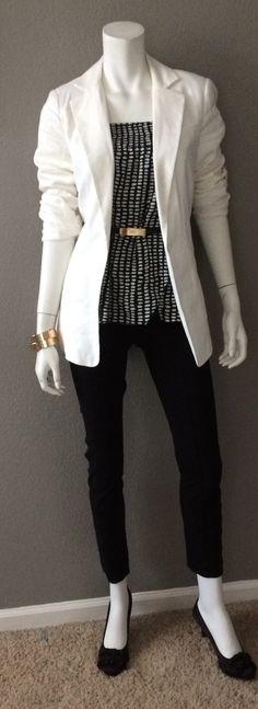 Daily Look:  CAbi Spring '15 Reversible Wrap Skirt (as a top), vintage Skinny Belt, Everly Blazer & Tuxedo Cropped Pant with kitten heel pumps. Notice thy asymmetry at the skirt hem - so cute!