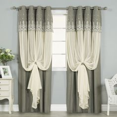 Shop for Aurora Home Grace Lace-overlay Grommet-top Curtain Panel Pair. Get free delivery On EVERYTHING* Overstock - Your Online Home Decor Outlet Store! Drapery Panels, Panel Curtains, Rideaux Design, Home Interior, Interior Design, Valance Window Treatments, Window Coverings, Home Curtains, Curtain Designs