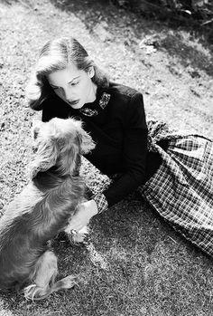 Lauren Bacall and a longhair dachshund, 1944