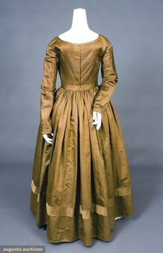 """silk day dress & pelerine, early 1840s, fitted bodice, inset waistband, long fitted sleeves, bias tucked wristband, cream linen and cotton bodice lining, center back brass hook & eye closure, piped seams, 2.5"""" tuck above hem"""