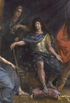 portrait de Louis XIV roi de France  (dans la galerie des Glaces à Versailles) peint par Charles Le Brun en 1680