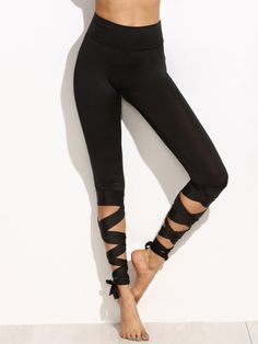 Shop Black Wide Waistband Tie Up Leggings online. SheIn offers Black Wide Waistband Tie Up Leggings & more to fit your fashionable needs. Tie Up Leggings, Leggings Fashion, Printed Leggings, Black Leggings, Leggings Store, Cheap Leggings, Dance Leggings, Black Capris, Dance Fashion