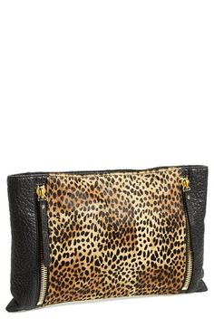 Vince Camuto 'Baily' Calf Hair & Leather Clutch available at #Nordstrom