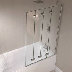 April Prestige Frameless 4 Panel Folding Bath Screen 1500mm High X 9
