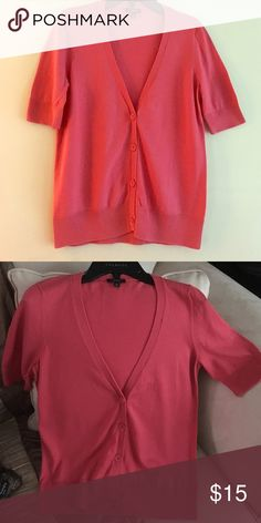 Talbots Coral V-Neck Cardigan Lovely coral color v-neck short sleeve cardigan with four buttons. Super cute paired with a khaki skirt, shorts or just a simple black pant for the office. Worn once. Size XS. Talbots Sweaters Cardigans