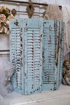 Wooden shutters chippy paint shabby cottage distressed recycled wall or table home decor Anita Spero