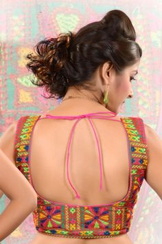 Multi colour raw #silk #blouse in square neck-BL396