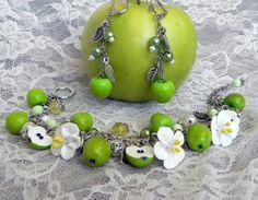 Apples of youth Bracelet and earrings. от PommeDeNeige на Etsy, $37.00