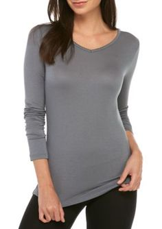 Echo Women's Long Sleeve V-Neck Henley Tee - Monument Gray - Xl