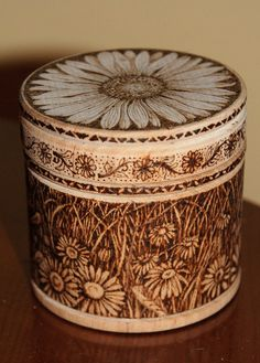 French pyrography | Wooden pyrographed pot with Daisies by tricianewell on Etsy, £20.00