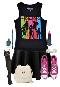 """""""Sailor Moon Mall Day"""" by adventuretimekitty ❤ liked on Polyvore featuring Converse, LunatiCK Cosmetic Labs, NYX and sailormoon"""