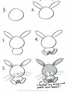 Easy Animal Drawings, Easy Doodles Drawings, Easy Doodle Art, Easy Drawings For Kids, Simple Doodles, Cute Doodles, Art Drawings Sketches, Drawing For Kids, Easy Bunny Drawing