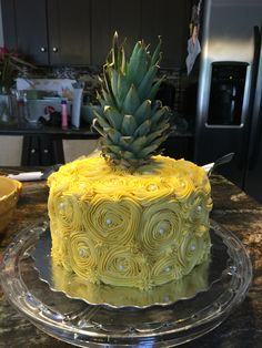 Pineapple Cake I made for my neice Jayde's 19th Birthday. Vanilla cake with buttercream icing tinted with Buttercup colour