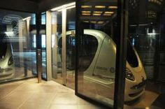 Masdar City in Abu Dhabi,  roam the area using the Personal Rapid Transit (PRT)
