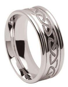 Satin Finish 8mm Titanium Wedding Band Ring w// Passion Cross /& Celtic Knots