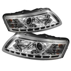 Spyder Audi Projector Headlights - Halogen Model Only ( Not Compatible With Xenon/HID Model ) - DRL - Chrome - High (Included) - Low ( Projector Headlights, Led Projector, Audi A6, Car Lights, Custom Cars, Rings For Men, Chrome, Model, Motorcycles