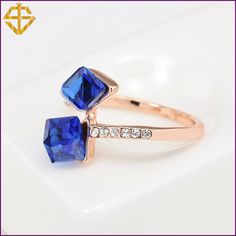 R0019. US $8.75/piece. Size : 6,7,8,9. Cheap ring stand jewelry,     Fashion Jewelry Square Ring with Austrian Crystal 18K Gold Plated For women .