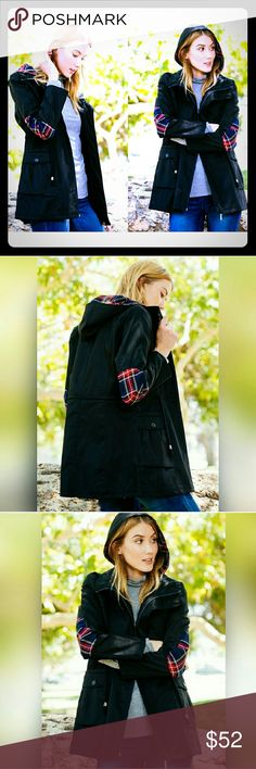 "Plaid patch utility jacket Love this! Light weight/ rain resistant  Fabric: top 100% cotton lining 100% polyester   High quality lightweight jacket.  Black utility jacket with  plaid elbow patch and in hood.  The picture truly doesn't do all the details justice   Small medium and large available.  Small: length 28"" shoulders 15"" hips 19"" arms 23"" Medium: length 29"" shoulders 16"" hips 20"" arms 24""  Large: length 30"" shoulders 17"" hips 21"" arms 25""  *flat measurements Jackets & Coats Utility…"
