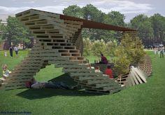 Pallet Pavillion (Dream Weaver Pavilion by Amy Nelson, via Behance) Pallet Tree Houses, Pallet House, Pallet Crates, Pallet Art, Pallet Ideas, Diy Pallet, Wooden Pallet Crafts, Patio Storage, Palette Diy