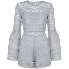 eb37769db21e Bardot Kristy Bell Sleeve Lace Short Playsuit featuring polyvore women s  fashion clothing jumpsuits rompers women dresses short romper short rompers  bell ...