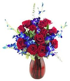 KaBloom Symphony Roses and Orchids Bouquet of 12 Red Roses, 5 Blue Dendrobium Orchids and Lush Greens with Vase Blue Dendrobium Orchids, Orchid Bouquet, Lush Green, Red Roses, Floral Wreath, Moon, Vase, Ideas, Gourmet