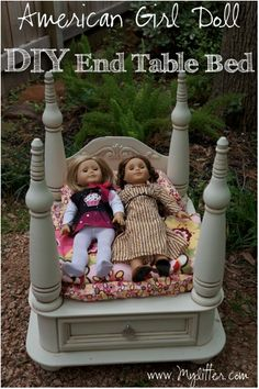 How to make a DIY American Girl Doll Bed from an old End Table! @Heather Davis Johnson How cute is this?
