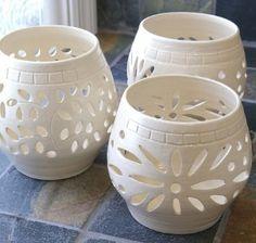 Handmade White Wedding Luminary, Clay, Stoneware,...