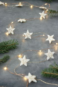 Make your own air dry clay in 5 minutes using ingredients you already have at home. Plus learn how to make a super cute star garland. :D christmas star Star Garland + Easy Homemade Air Clay Recipe Diy Christmas Garland, Homemade Christmas Decorations, Star Garland, Noel Christmas, Simple Christmas, Garland Ideas, Holiday Decorations, Victorian Christmas, Christmas Tree Star