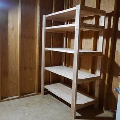 This storage shelf was built to put into my storage shed. These shelves were simple to build, took about 2 hours to complete. Diy 2x4 Storage Shelves, Diy Storage Shelves, Wood Shelves, Garage Storage, Shelving, Garage Shelf, Storage Organization, Furniture Projects, Wood Furniture