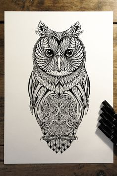 'Long Eared Owl' - commission for Hoot Watches on Behance
