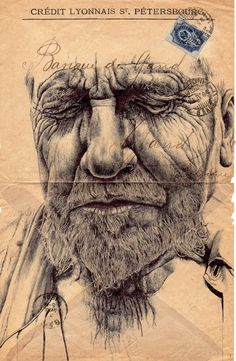 Mark Powell, bic biro ballpoint pen drawing on 1894 envelope